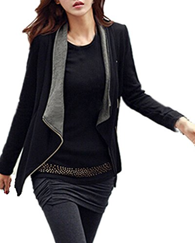ZANZEA Donna Slim Maniche Lunghe Cardigan Giacca Blazer Cappotto Coat Jacket Top Outwear Grigio e Nero IT 46-48/US XL