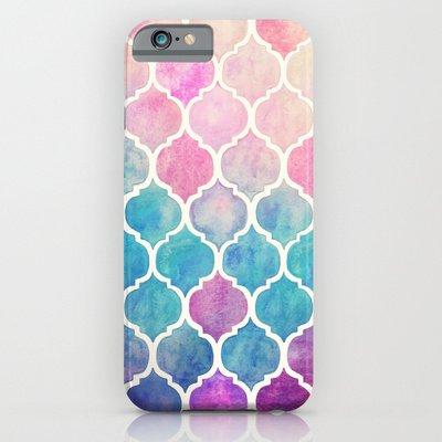 society6(ソサエティシックス) iPhone6(4.7インチ)ケースレインボーパステル Rainbow Pastel Watercolor Moroccan Pattern並行輸入品