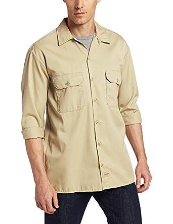Dickies Men's Long Sleeve Work Shirt, Khaki, Small