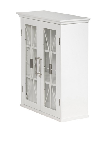 Elegant Home Fashions Delaney White Wall Cabinet with Two Doors (Wall Mounted Glass Cabinet compare prices)