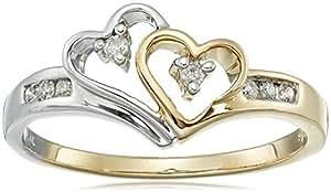 14k Two-Tone Diamond Heart Ring (1/10 cttw, I-J Color, I2-I3 Clarity), Size 5