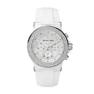 MICHAEL KORS MK5392 - Reloj analógico de cuarzo para mujer con correa de silicona, color blanco