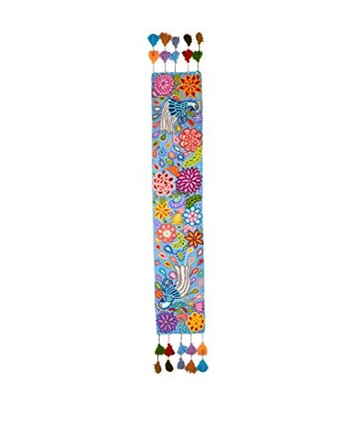 Uptown Down Hand-Embroidered Floral Table Runner, Blue/Multi