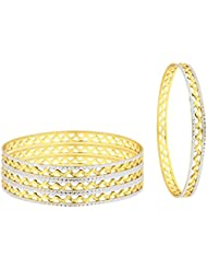 The Jewelbox Waves 22K Gold Rhodium Plated Two Tone Bangle Set Of 4 For Women