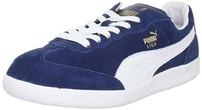 PUMA Unisex Liga Suede Classic Sneaker,Dark Denim/White,4 D US