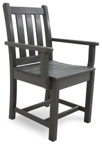 Polywood Tgd200gy Traditional Garden Dining Arm Chair Slate Grey Furniture Chairs Chairs