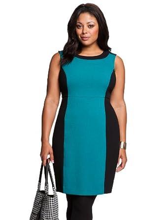 eloquii Colorblock Sheath Dress Women's Plus Size Jadite 24W