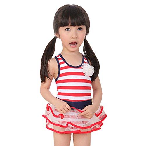 Urparcel Girls Leopard Bikini With Hat Summer Swimsuit Beach Swimwear 1-7 Year (4-5 Year, Red)