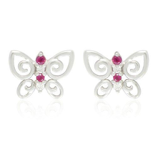 Sterling Silver Round Shaped Created Ruby and White Cubic Zirconia Butterfly Earrings
