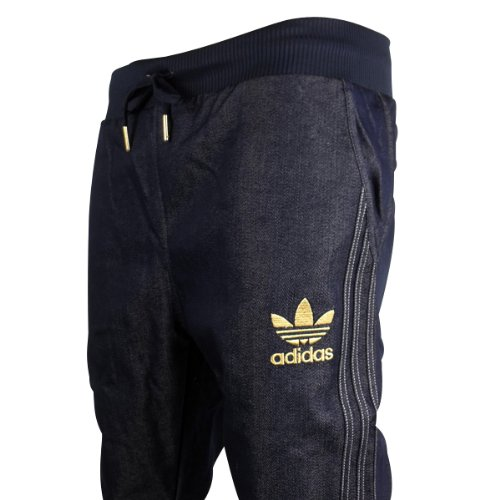 Mens Adidas Originals Cuffed Denim Blue Jeans Tracksuit Bottoms Pants Joggers S