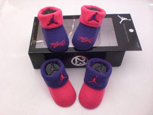 Nike Air Jordan Newborn Infant Baby Booties Purple and Pink W/classic Jordan Air Jumpman and Flight Logo, Size 0-6 Months