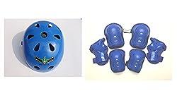 Fantasycart Kids Skateboard Longboard Helmet Knee & Elbow Pads Wrist Guard Combo Blue Set 2-8 years old