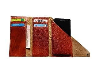 ATV Genuine Leather BROWN Designer Tri-Fold Pouch Case Cover For HTC Desire 501 dual sim