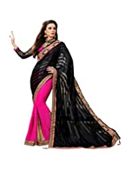 Fashion Femina Black and Pink Saree Crafted with Zari, Stone and Patch Work