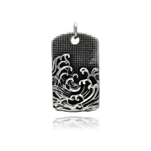 **Lead Free** Stainless Steel 22.5Mm(W)X37.5Mm(H) Wave Design Dog Tag Fashion Charm Pendant