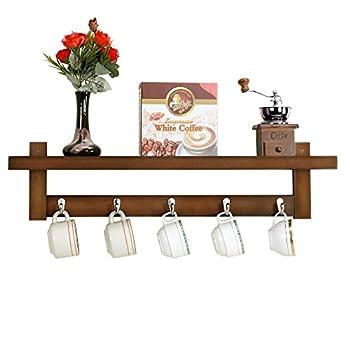 WILSHINE Wall Mounted Shelf with Hooks, Bamboo Coat Hooks Rack with Shelf for Entryway Kitchen Bathroom, Brown