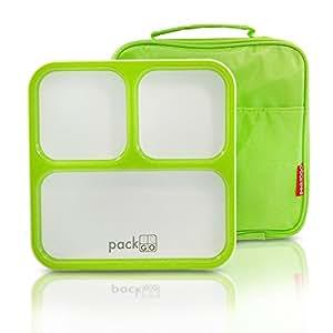 packtogo slimline bento lunch box with insulated lunch bag slim design for. Black Bedroom Furniture Sets. Home Design Ideas