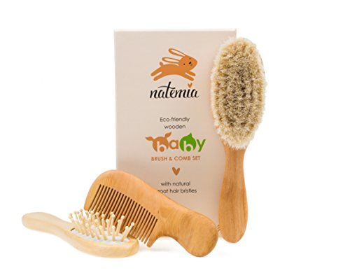 Natemia Premium Wooden Baby Hair Brush and Comb Set - Natural Soft Bristles - Ideal for Cradle Cap - Perfect Baby Registry Gift (Baby Hair Soft Brush compare prices)