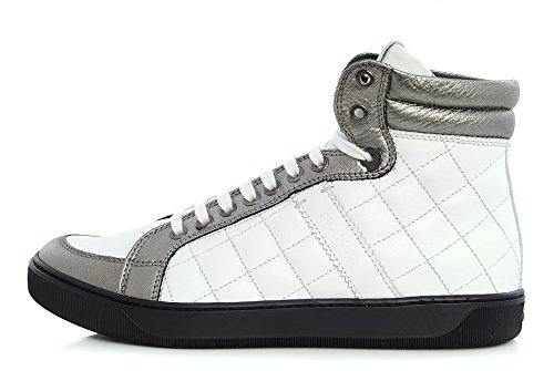Scarpa MONCLER, Stivaletto Donna, High-Top Sneaker, 42 09A 2008010, Pelle Bianca, 35