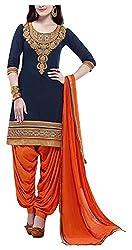 Angel Fashion Studio Women's Cotton Dress Material (Blue)