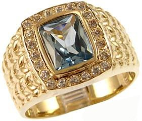 Yellow Gold Plated, Fancy Ring For Men Guy Gent With Brilliant Lab Created Gems Aqua Blue Center