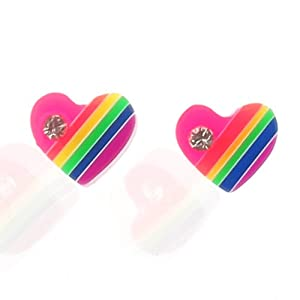 Sterling Silver Stud Earrings - Rainbow Coloured Resin Heart with Crystal