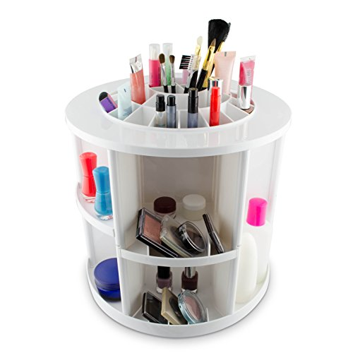 VENKON - Make Up Organizzatore Scatola di Ordinamento per Stoccaggio di Cosmetici - Ruota di 360 Gradi - Bianco
