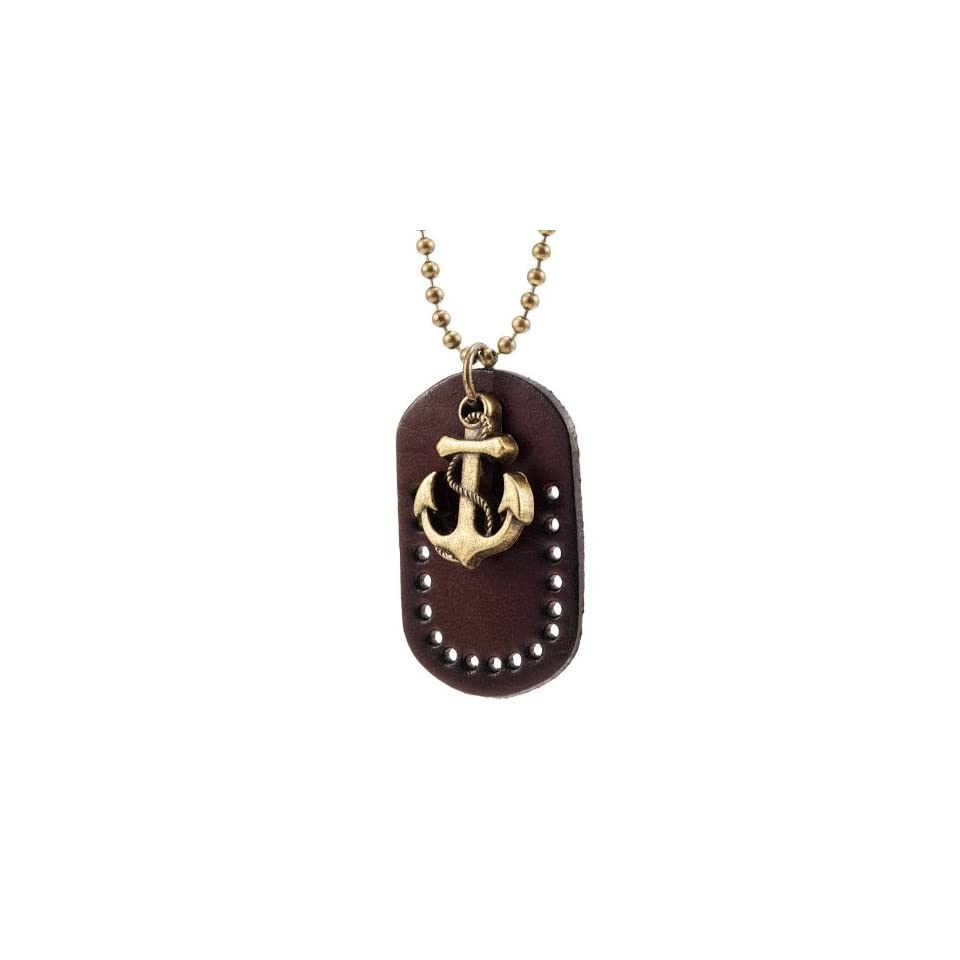 Style Anchor Mens Vintage Leather Dog Tag Pendant Chain Necklace (Brown, Gold)