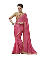 Beautiful Pink Chiffon Saree With Blouse