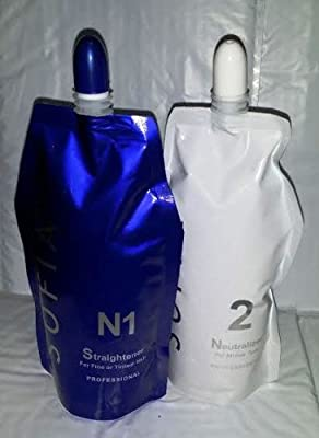 Hair Rebonding Sofia Professional Hair Straightener (N1) + Neutralizer for Fine or Tinted hair(N2)