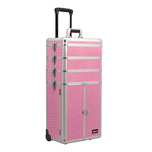Sunrise Outdoor Travel Pink Crocodile Trolley Makeup Case - I3365