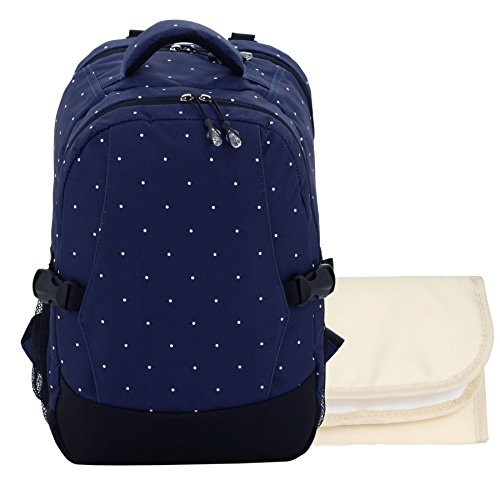 Damero Travel Backpack Diaper Bag with Changing Pad (Blue with dots)