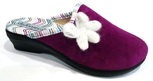 DE FONSECA ciabatte pantofole invernali da donna con zeppa mod. WAVES DI72 ORCHIDEA (37)