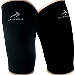 Thigh Compression Sleeves (1 Pair, Black M) Men, Women & Youth Hamstring Pain/ Quad Support & Recovery - Reduce Groin Strains & Cramps - Snug & Warm For Tennis, Soccer, Basketball Sports