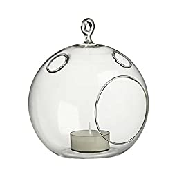 WGV Clear Round Hanging Votive Candle Holder/Glass Orb Terrarium Vase, 5-Inch by 6-Inch, 6-Pack