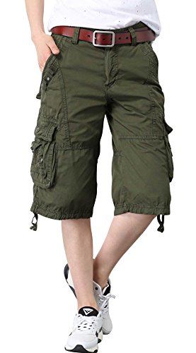 Chouyatou Women's Casual Loose Fit Multi-Pockets Twill Bermuda Cargo Shorts (XX-Large, Army Green) Large Casual Shorts