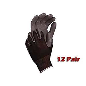 12 Pack Atlas Glove 370BBK Atlas Nitrile Tough Gloves - Medium