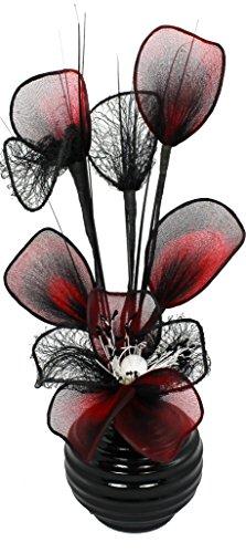 Flourish - Vaso con fiori finti in rete, TW, 813, 32 cm, colore: Rosso/Nero