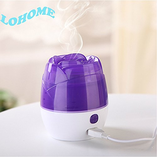LOHOME (TM) Newest Fashion Hot Sale Rose Air Mist Purifier USB Portable Mini Ultrasonic Humidifier Air Freshener with Colorful LED Lamp Ideal for Home/Office Good Gift (Purple)