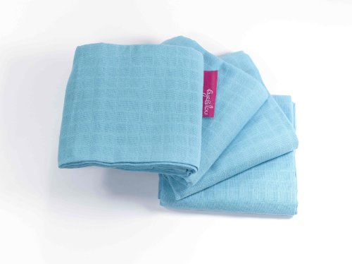 Faye and Lou SuperSoft Muslins Cloth, Blue, 4 Count