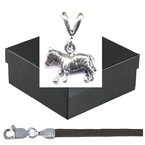 """Gift Boxed Zebra Pendant With 16"""" Brown Satin Cord Sterling Silver African Animal Charm Jewelry Set front-14364"""