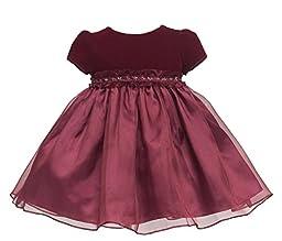 KID Collection Baby-Girls Velvet Illusion Dress 6M Sm Burgundy (Kid B807)