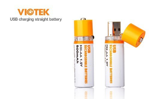 Viotek USB Cell 1.2v AA Rechargeable Battery, Pack of 2 (NH-AA)
