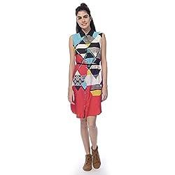 Desi Belle Casual Sleevless Printed Women's Shirt Dress