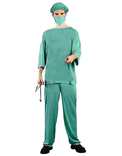 HDE Men's Doctor Medical Physician Surgeon Scrubs Halloween Costume Party Outfit