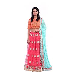 Pink lace lehenga and orange blouse with turquoise duppatta