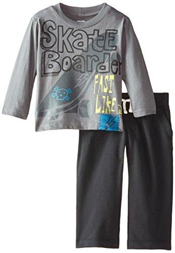 Gerber Graduates Baby Boys' Skate Board Long Sleeve Top and Black Pant Set, Skate Board, 24 Months
