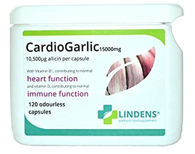 Lindens Cardio Garlic 15,000mg 120 Odourless Capsules 10,500mcg Allicin per Capsule from Lindens