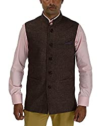 Panache Jute Men's Nehru Jacket (Brown,36)