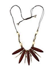 Chic Collection Wood And Shell Spike Necklace For Women